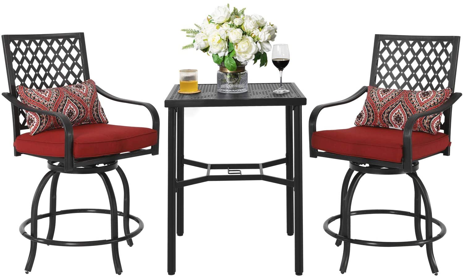 patio bar stools and table set 3 piece outdoor bistro furniture set with cushions for balcony yards porch black2
