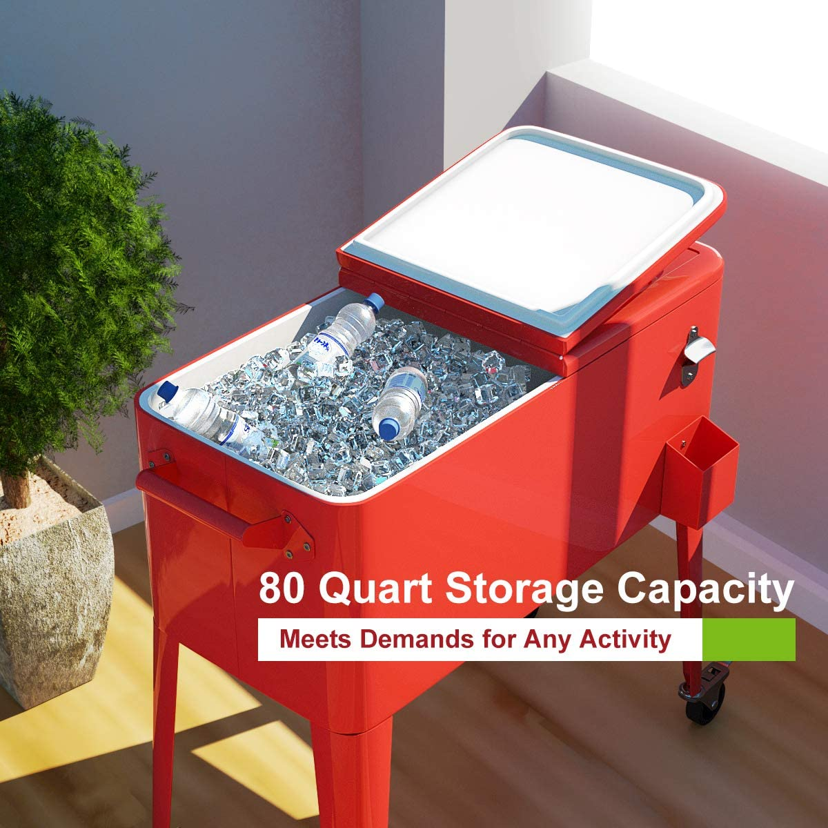 80 quart cooler cart outdoor cooler cart on wheels patio rolling ice chest for beer beverage party portable cooler with casters beverage cooler cart