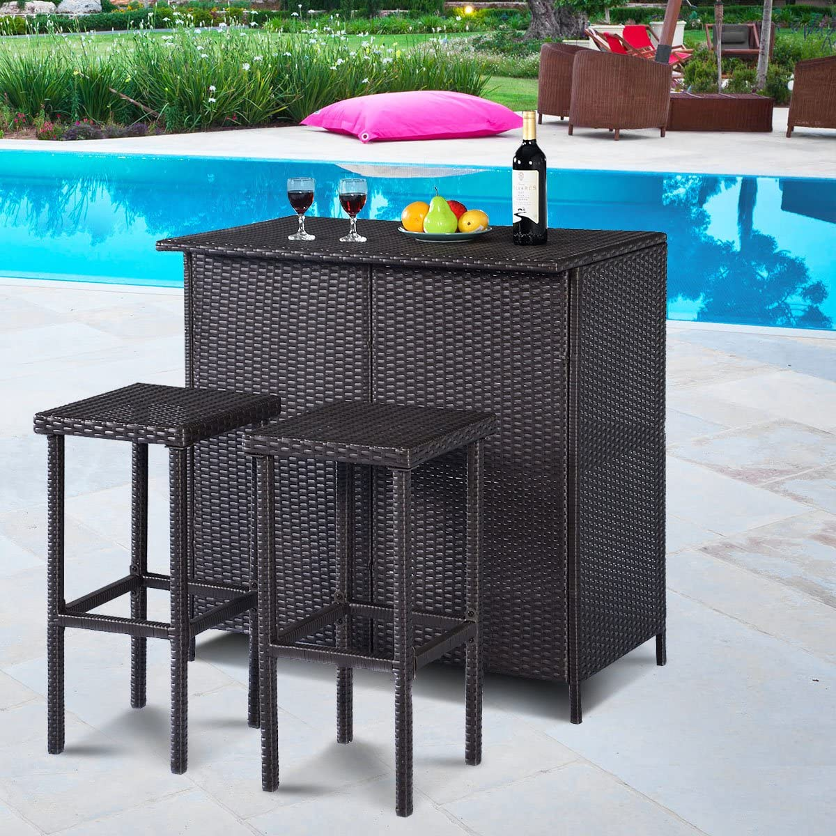 3 piece patio bar set rattan wicker bar stools table for lawn pool backyard garden dining set with 2 storage shelves indoor outdoor moder wicker bar