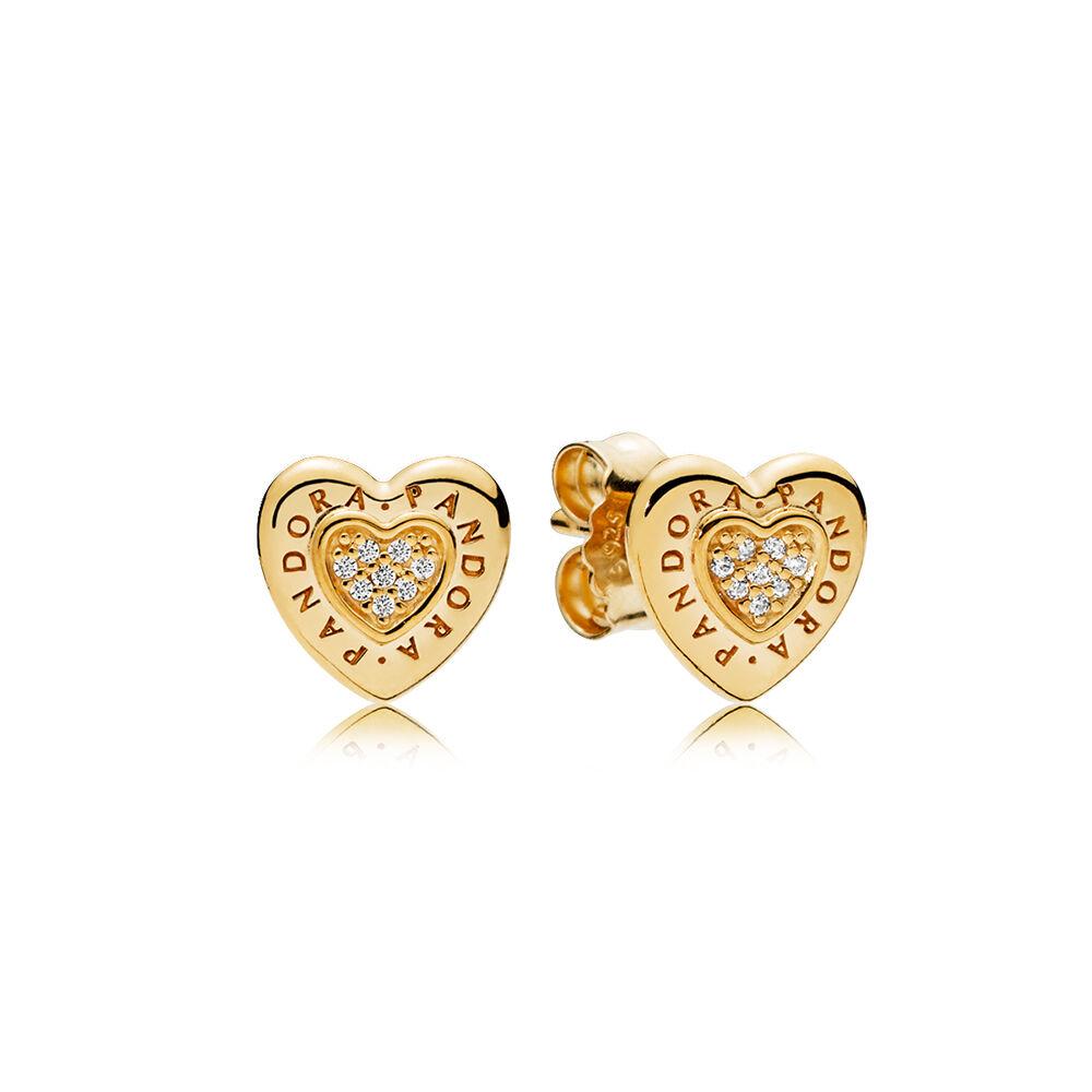 PANDORA Signature Heart Stud Earrings PANDORA Shine