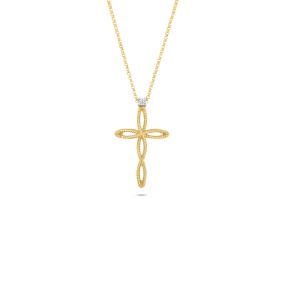Roberto Coin Barocco 18k Yellow Gold And 18k White Gold Cross Pendant With Diamonds