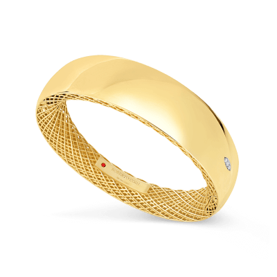 Roberto Coin Golden Gate 18K Yellow Gold and 18K White Gold Wide Gold Bangle with Diamonds 7771087AJBAX