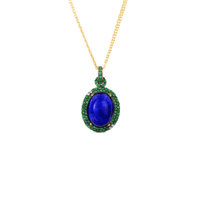 Art Deco Drop Pendant with Lapis and Tsavorite