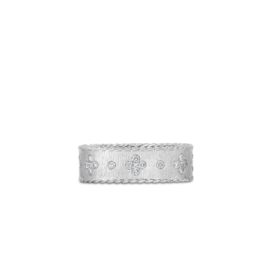 Satin Finish Ring With Fleur De Lis Diamonds
