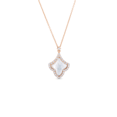 Roberto Coin Tiny Treasures 18k Rose Gold Art Deco Pendant With Diamonds And Mother Of Pearl