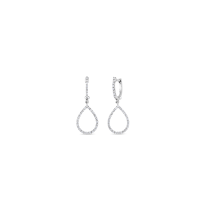 Roberto Coin Tiny Treasures 18k White Gold Art Deco Drop Earrings With Diamonds