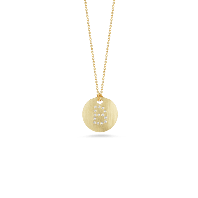 tiny treasuresdisc pendant with diamond initial b