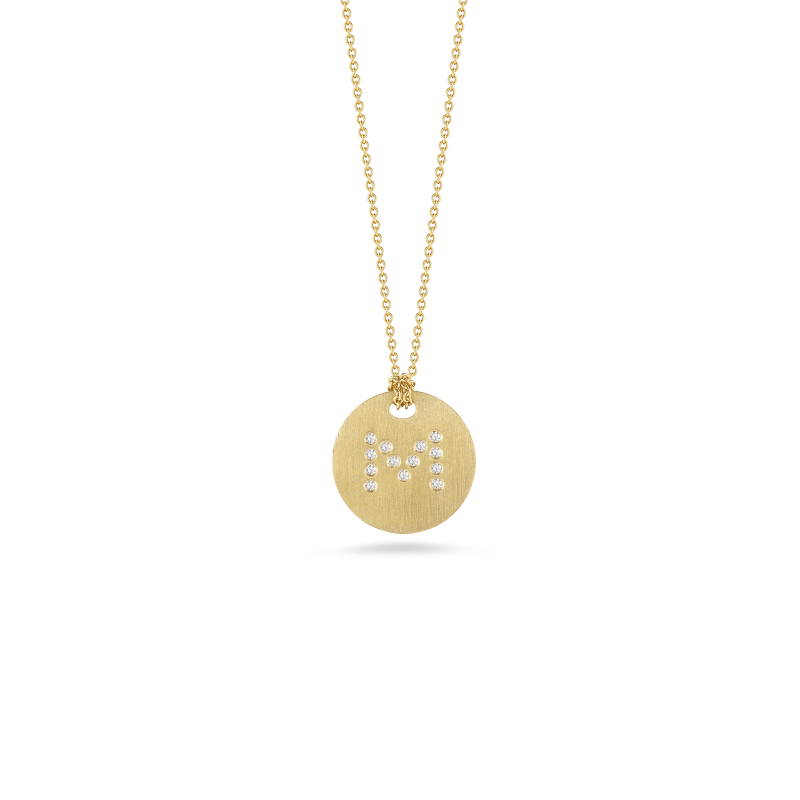 Roberto-Coin-Tiny-Treasures-18K-Yellow-Gold-Disc-Pendant-with-Diamond-Initial-M-000801AYCHXM