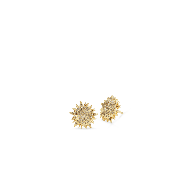 Roberto-Coin-Tiny-Treasures-18K-Yellow-Gold-Sun-Earrings-with-Brown-Diamond-000953AYERBD