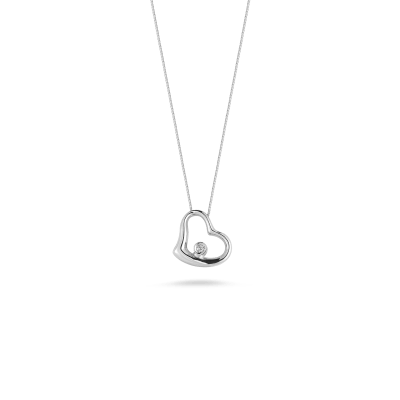 Small Slanted Heart Pendant With Diamond
