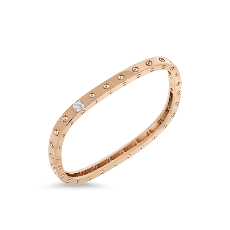 23836688d48a Pois Moi18KT GOLD 1 ROW SQUARE BANGLE WITH DIAMONDS