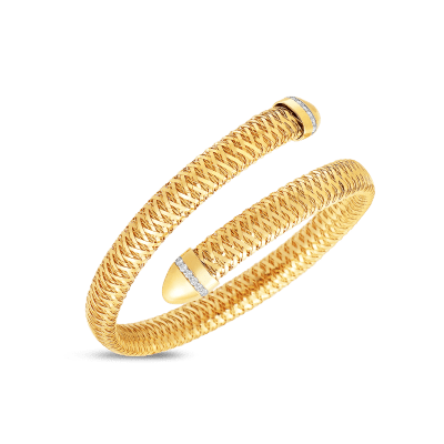 Flexible Snake Cuff With Diamonds 18k Yellow Gold