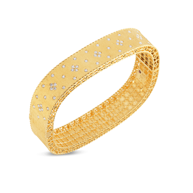 Roberto-Coin-Princess-18K-Yellow-Gold-Satin-Finish-Bangle-with-Fleur-de-Lis-Diamonds-7771195AYBAX