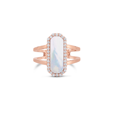 Art Deco Ring With Diamonds And Mother Of Pearl