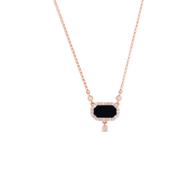 Art Deco Necklace With Diamonds And Black Jade