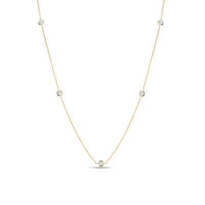 Product 18kt Gold Necklace With 3 Diamond Stations