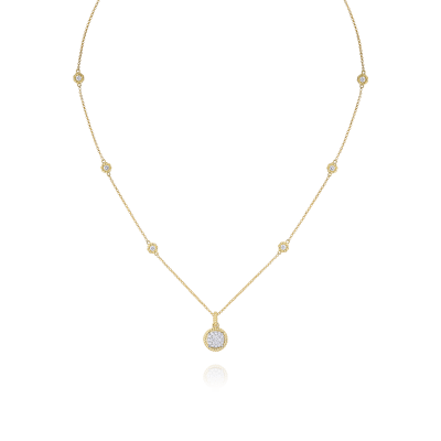 Pave Circle Pendant with Diamond Station Chain
