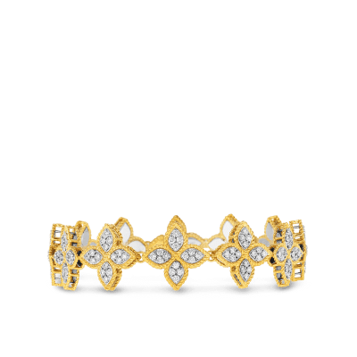Product 18kt Gold Ring With Black And White Fleur De Lis Diamonds