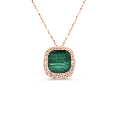 Small Pendant with Malachite and Diamonds