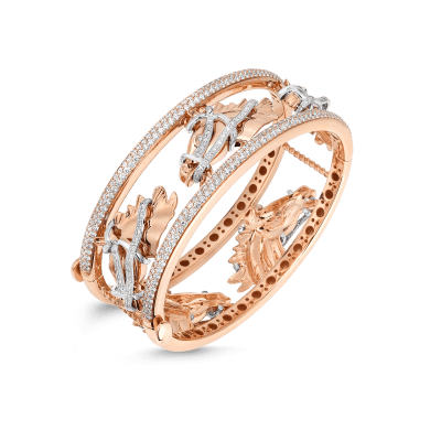 Wide Cheval Bangle with Diamonds