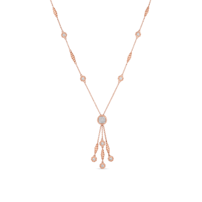 Tassel Necklace with Diamonds Stations
