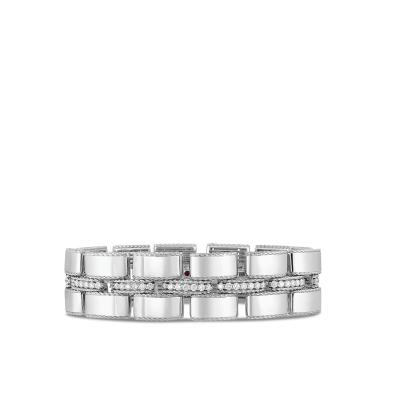 Wide Retro Link Bracelet with Diamond Connectors