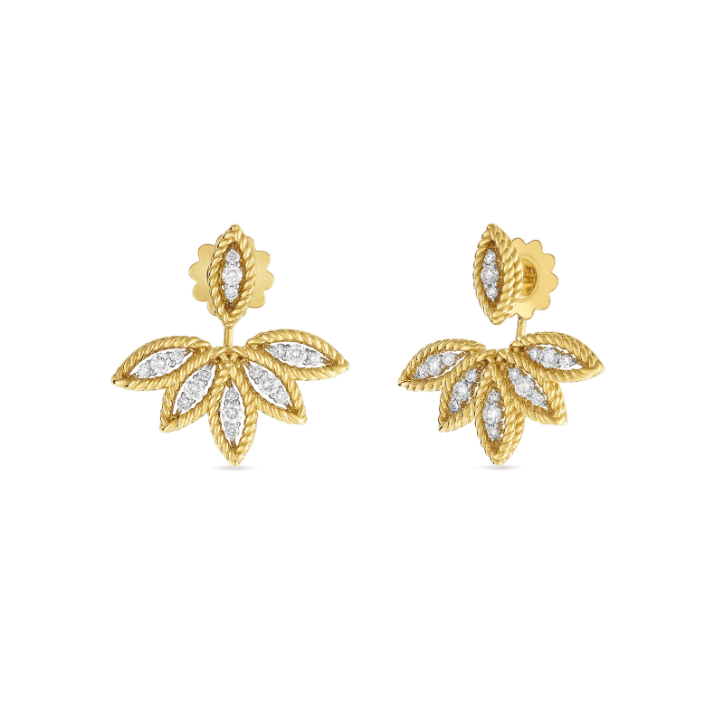 Roberto-Coin-18k-yellow-gold-18k-white-gold-Diamond Stud Earring with Fan Jackets -8882245AJERX