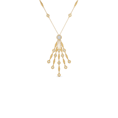Tassel Necklace with Diamond Stations