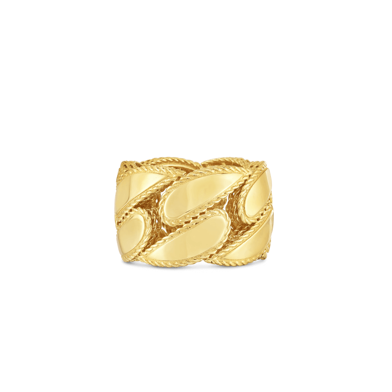 Roberto-Coin-18k-yellow-gold-Gourmette Link Ring-7771375AY650