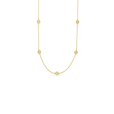 Long Necklace with Alternating Diamond Stations