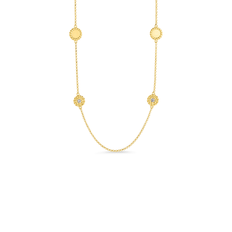 Roberto-Coin-18k-yellow-gold-Necklace with Alternating Diamond Stations-7771315AY35X