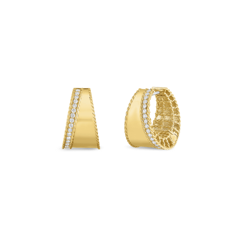 Roberto-Coin-18k-yellow-gold-Tapered-Hoops-with-Diamonds-7771420AYERX