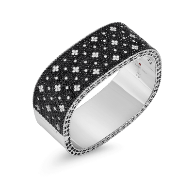Wide Bangle with Black and White Fleur de Lis Diamonds