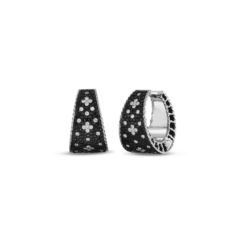 Roberto-Coin-18k-white-gold-Tapered-Hoop-Earrings-with-Black-and-White-Fleur-de-Lis-Diamonds–8882265AWERX