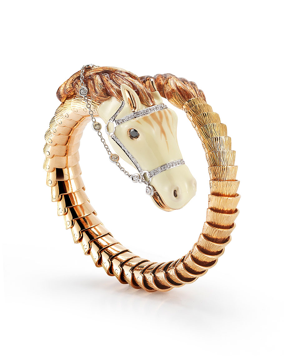 FLEXIBLE HORSE CUFF WITH DIAMONDS AND ENAMEL