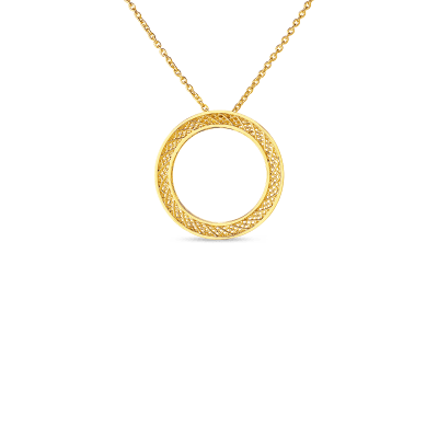 Product 18kt gold mesh circle pendant