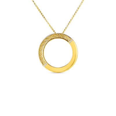 Product 18kt gold mesh circle pendant with diamonds