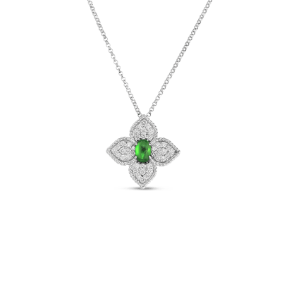 18K DIAMOND & TSAVORITE FLOWER PENDANT