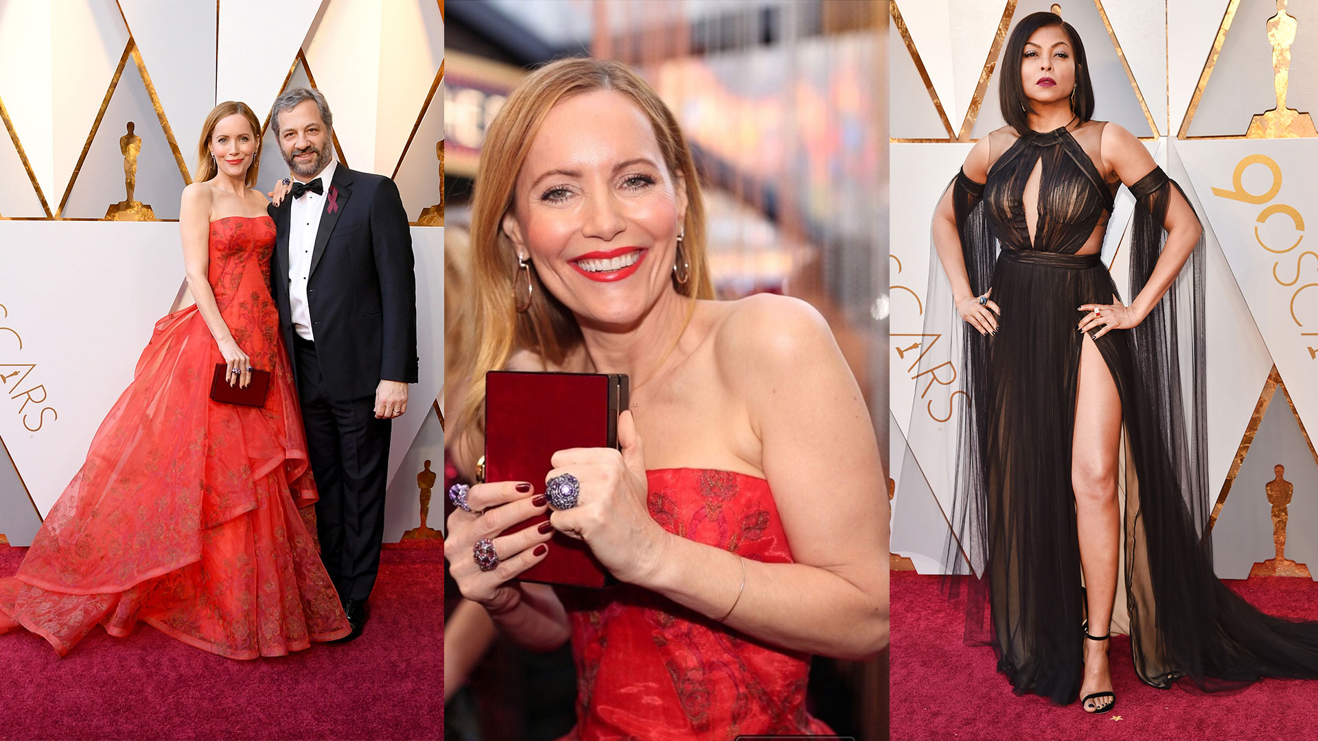Picture of Leslie Mann wearing the most beautiful Haute Couture rings by Roberto Coin Italian Designer Jewelry