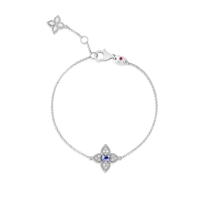 18K DIAMOND & TANZANITE SINGLE FLOWER BRACELET