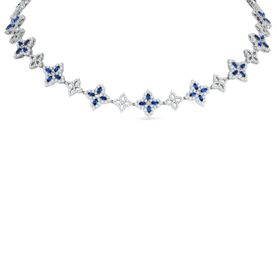 Product 18k diamond & sapphire flower necklace