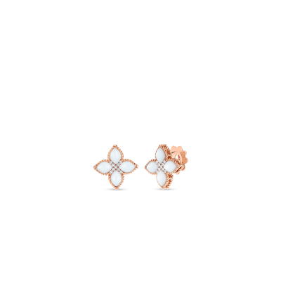 Product 18kt medium mother-of-pearl & diamond stud earring