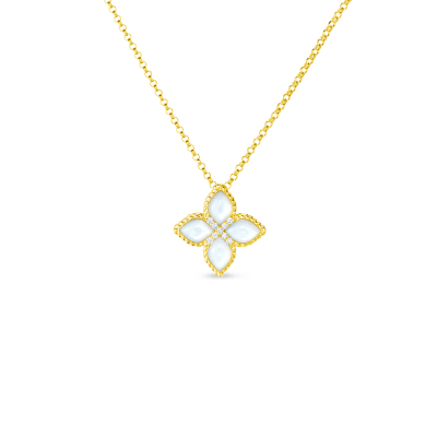 18KT MED MOTHER-OF-PEARL & DIAMOND PENDANT