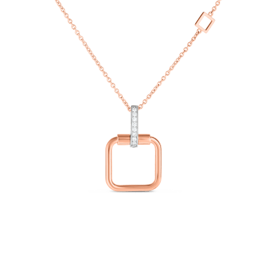 Product 18k small square pendant with diamond accent on chain