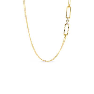 Product 18k long chain with rectangular elements & diamond accent