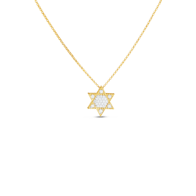 Product 18kt gold princess star of david pendant with diamonds