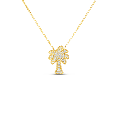 Product 18kt gold palm tree pendant with diamonds