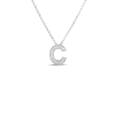 Product 18k Gold & Diamond Princess Initial 'C' Pendant On Chain