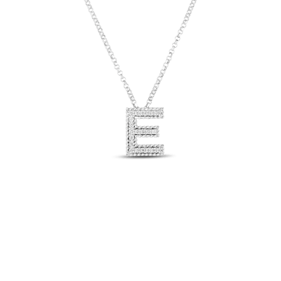 Product 18k Gold & Diamond Princess Initial 'E' Pendant On Chain