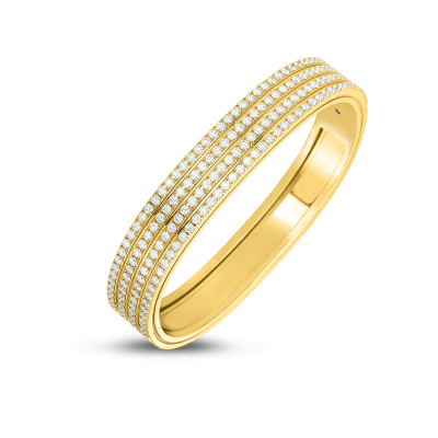 Product 18kt 4 Row Diamond Portofino Hinged Bangle